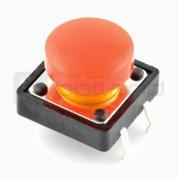 Tact Switch 12x12 mm with round - red cap