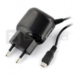 Reverse 2.4A microUSB USB power supply + USB socket