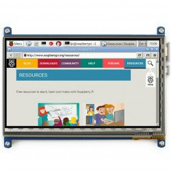 """Touch screen capacitive LCD TFT screen 7"""" 800x480px HDMI + USB for Raspberry Pi 2/B+"""
