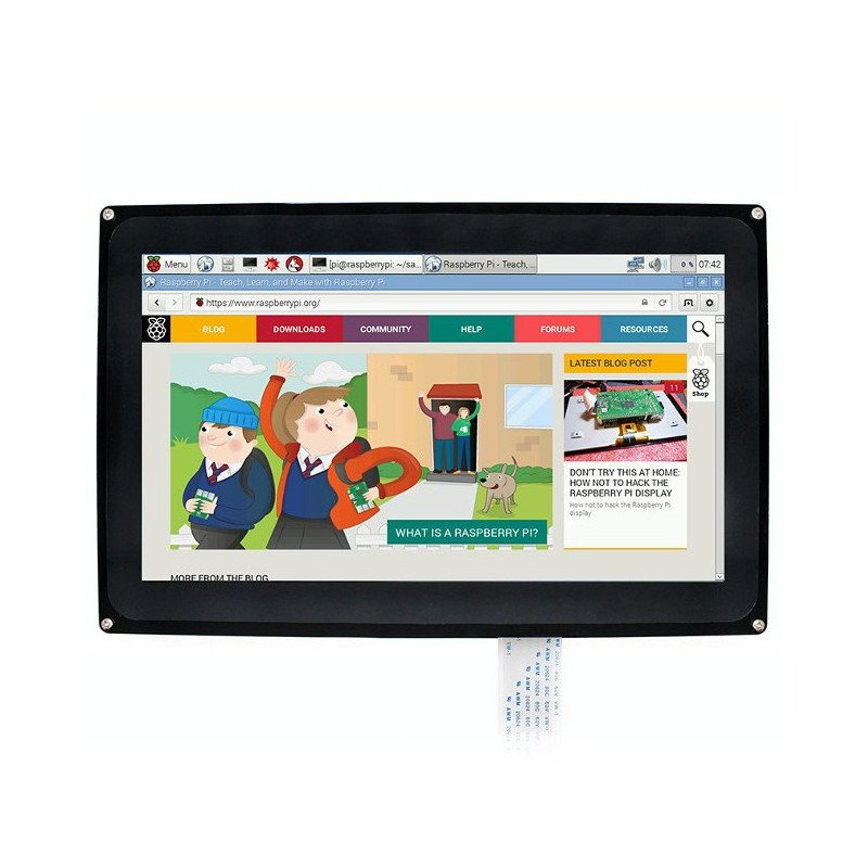 """Capacitive touch screen TFT LCD display is a 10.1"""" 1024x600px for Raspberry Pi 3/2/B+ + case"""