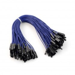 Przewody połączeniowe żeńsko-męskie 20cm czarne - 100 szt.