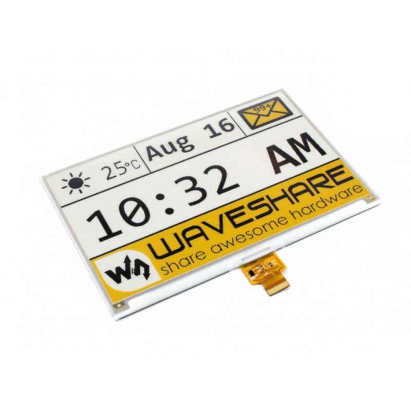 """Waveshare E-paper, E-Ink (C) and 7.5"""" 640x384px display with color trim HAT for Raspberry Pi"""