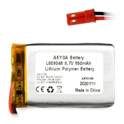 Battery Li-Pol Akyga 850mAh 1S 3.7V - JST-BEC connector + socket