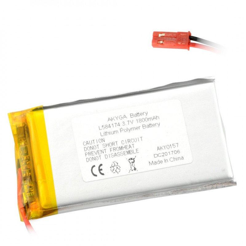 Battery Li-Pol Akyga 1800mAh 1S 3.7V - JST-BEC connector + socket