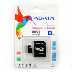Adata microSD memory card 8GB 50MB/s UHS-I class 10 with adapter