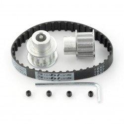 Timing belt 10x180mm + gear wheel 12T - 8mm - 2pcs.