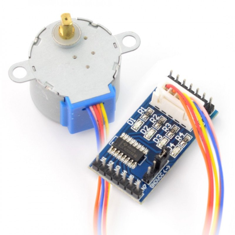 Stepper motor with gearbox 28BYJ-48 5V/ 0.1A/ 0,03Nm with driver ULN2003