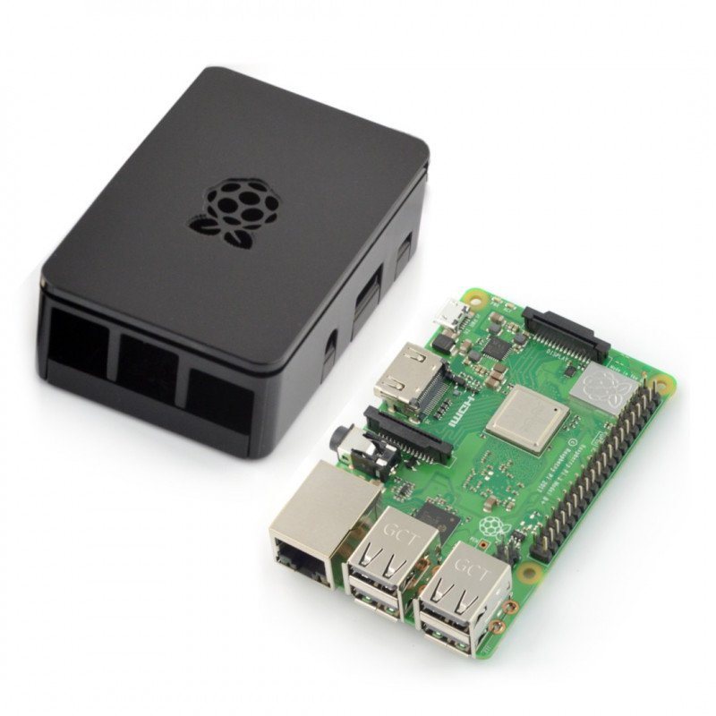 Set of 3 Raspberry Pi B+ wi-fi + case RS Pro Plus with cover - black