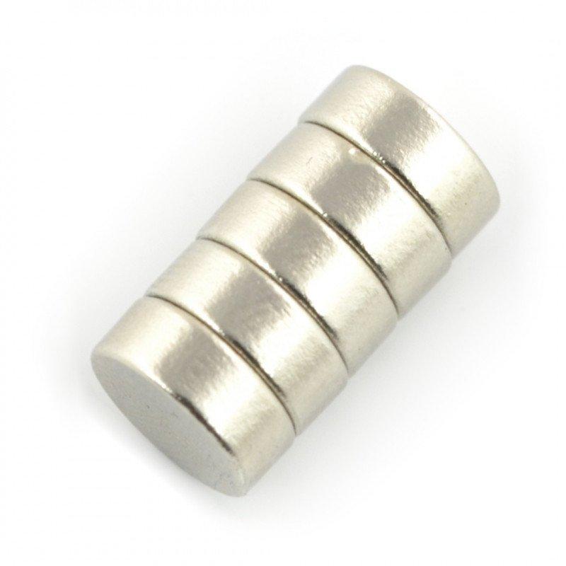 Round neodymium magnet - 10x4mm - 5pcs.