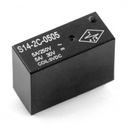 Relay S14-2C-0505 - 5V coil, contacts 2x 5A/250 VAC. current