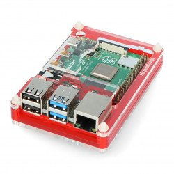 Case for Raspberry Pi Model 4B Pibow Coupé 4 - Red