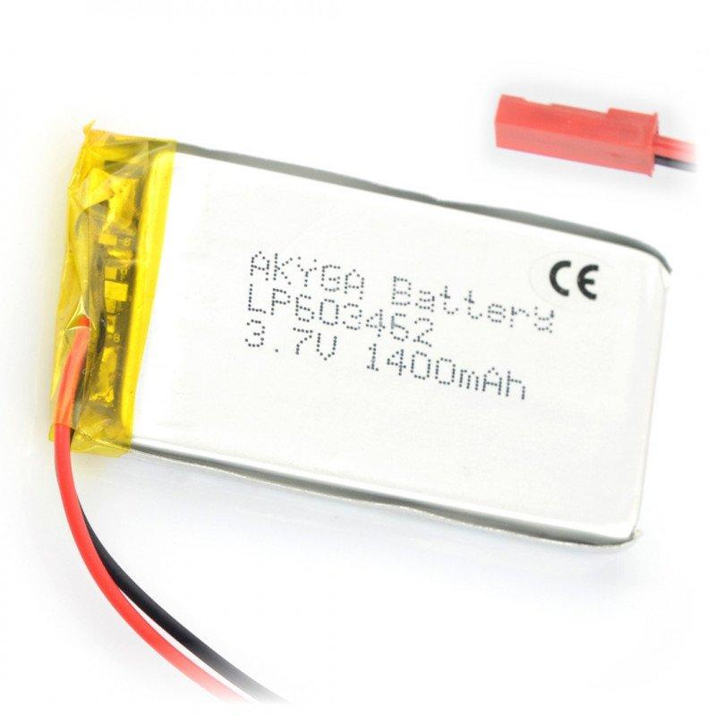 Battery Li-Pol Akyga 1400mAh 1S 3.7V - JST-BEC connector + socket