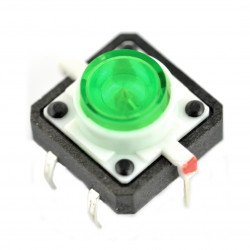 Tact Switch 12x12, 7mm THT 6pin - green backlight