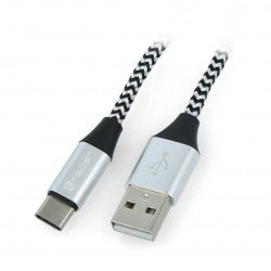 Cable TRACER USB A - USB C 2.0 black and silver braid - 1m