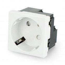 Flush-mounted socket 230V single 45x45mm toolless 16A Schuko - white