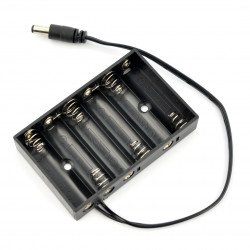 Cage for 6 AA (R6) type batteries with 5.5/2.1mm DC connectors
