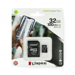Kingston Canvas Select Plus microSD 32GB 100MB/s UHS-I Class 10 memory card with adapter