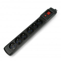 Power strip MULTI M6 black, 1.5m 6x230