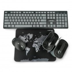 4in1 Natec Tetra Wireless Kit Keyboard + Mouse + Speakers + US pad - black and grey