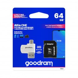 Goodram All in One - micro SD / SDHC memory card 64GB class 10 + adapter + OTG reader