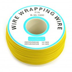 Insulated PVC Coated 30AWG Wire Wrapping Wires Reel 820Ft - yellow