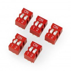 DIP switch 2-pole - red - 5 pcs.