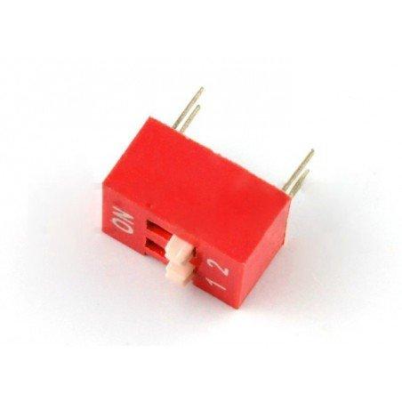 DIP switch 2-pole - red - 5 pcs.