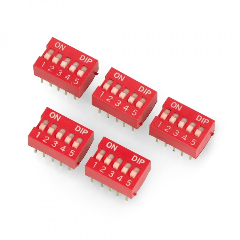 DIP switch 5-field switch - red