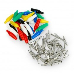 Set of 35mm crocodile clips, various colors - 30 pieces