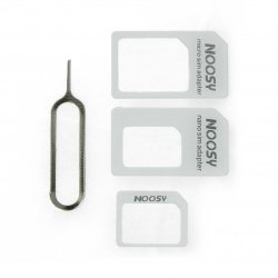 Adapter for micro and nano SIM cards with a key - white