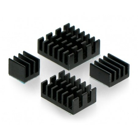 Set of heat sinks for Raspberry Pi - with heat transfer tape -