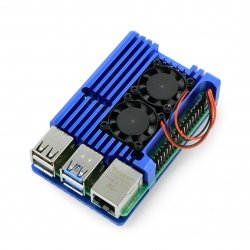 Case justPi for Raspberry Pi 4B - aluminum with two fans - blue
