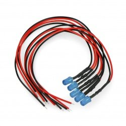 5mm 12V LED with resistor and wire - blue - 5pcs.