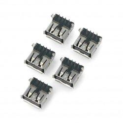 USB type A - female THT -...