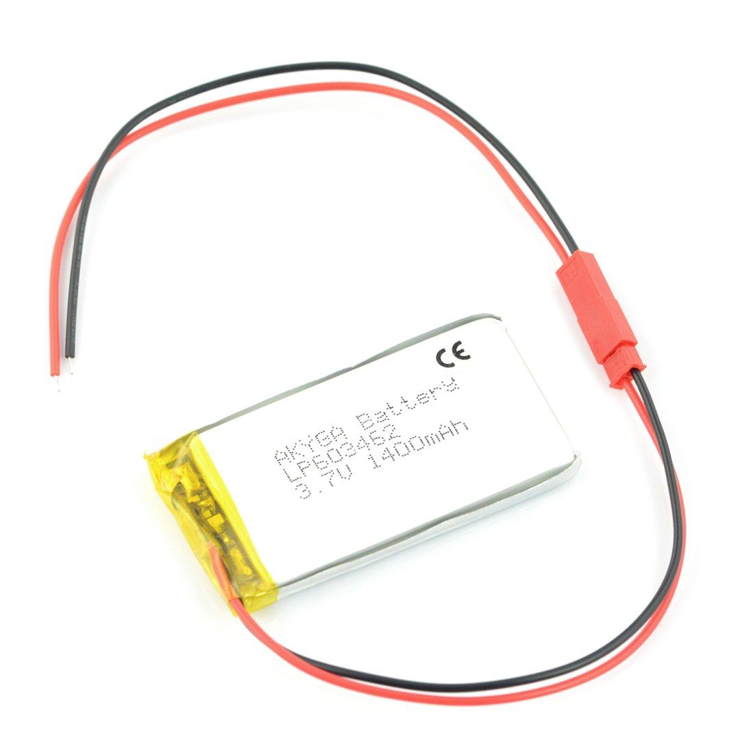 Akumulator Li-Pol Akyga 1400mAh 1S 3,7V - złącze JST-BEC + gniazdo - 62x34x6mm