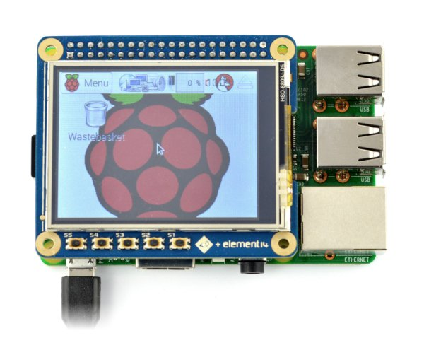 Touch screen resistive LCD TFT 2,4'' 320x240px GPIO 4DPi-24-HAT for Raspberry Pi 3/2/B+