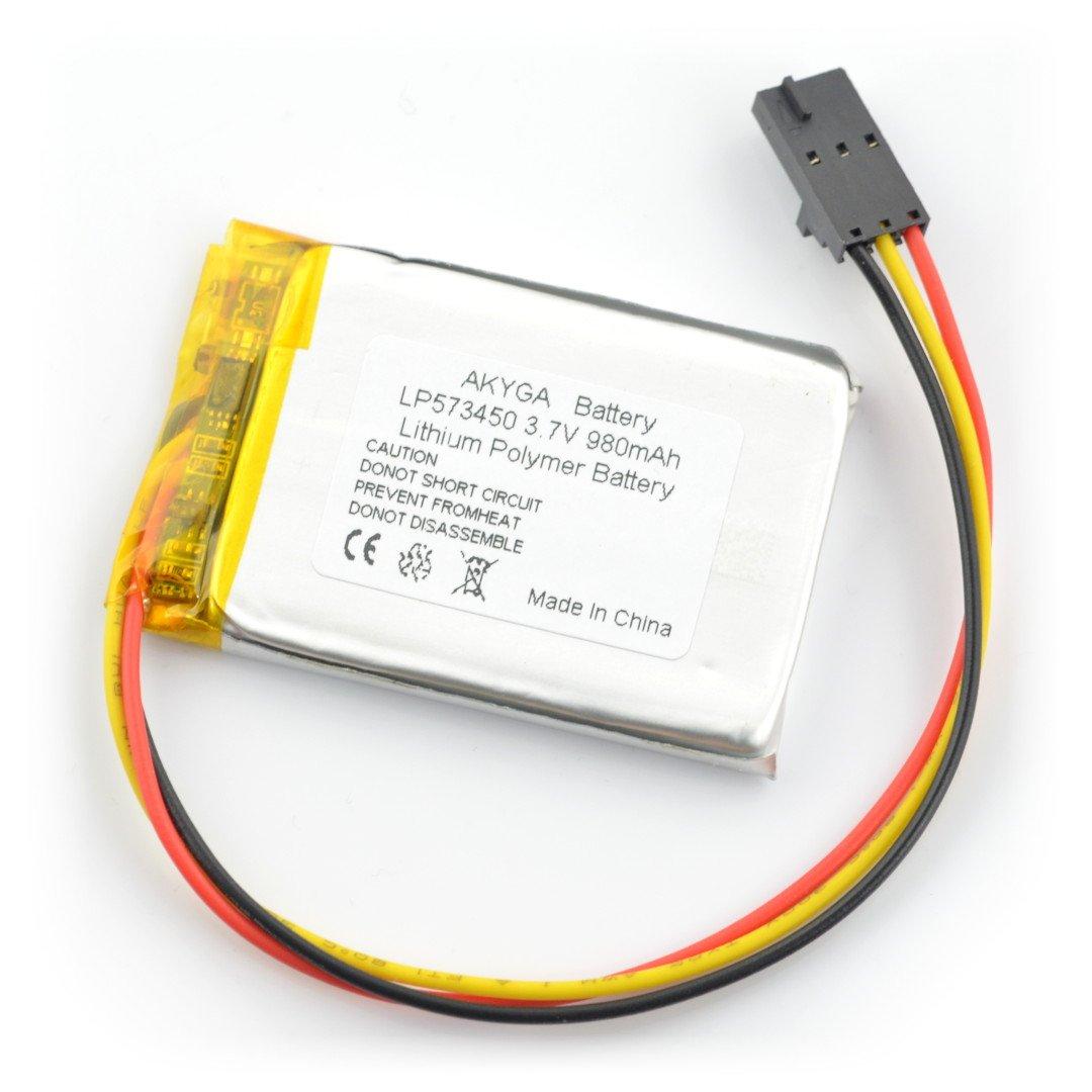 Akumulator Li-Pol Akyga 980mAh 1S 3,7V - 3 przewody - złącze żeńskie 2,54mm - 50x34x6mm