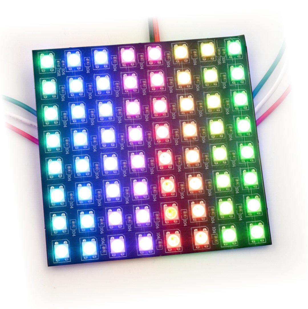 Elastyczna matryca 8x8 - 64 LED RGB - WS2812B indywidualnie adresowane