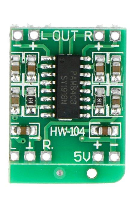Wyprowadzenia wzmacniacza PAM8403