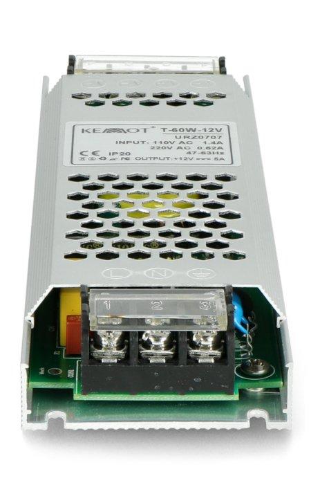 Zasilacz montażowy T-60W-12V do taśm i pasków LED 12V / 5A / 60W