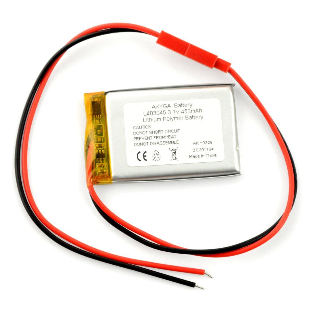 Akumulator Li-Pol Akyga 450mAh 1S 3,7V - złącze JST-BEC + gniazdo