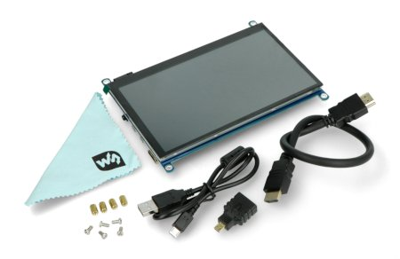 Zestaw zawiera ekran QLED, adapter, przewody i elementy montażowe.