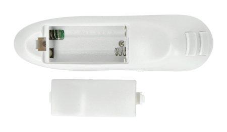 Zasilany za pomocą dwóch baterii AA 1,5 V. Baterie nie są zawarte w zestawie. Można je kupić osobno w naszym sklepie.