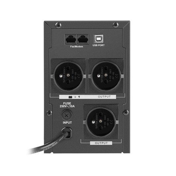 Zasilacz posiada 3 gniazda typu E, 2 gniazda RJ45 i gniazdo USB typ B.