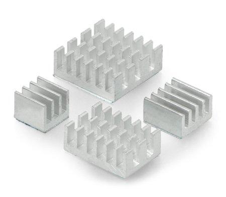 Zestaw radiatorów do Raspberry Pi 4 -srebrnych z taśmą termoprzewodzącą - 4 szt.