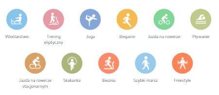 Aż 11 trybów aktywności do wyboru.