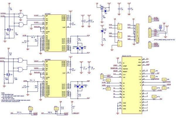 Schemat sterownika silników - MC33926, shield dla Arduino
