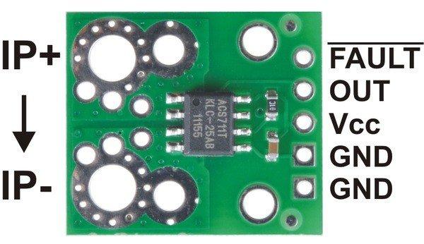 Wyprowadzenia i podłączenie czujnika prądu ACS711